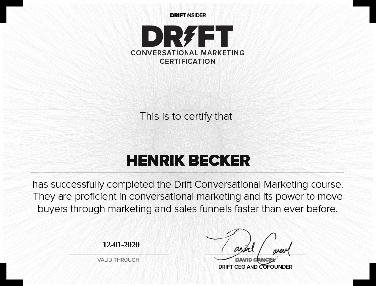 Drift Conversational Marketing Certification